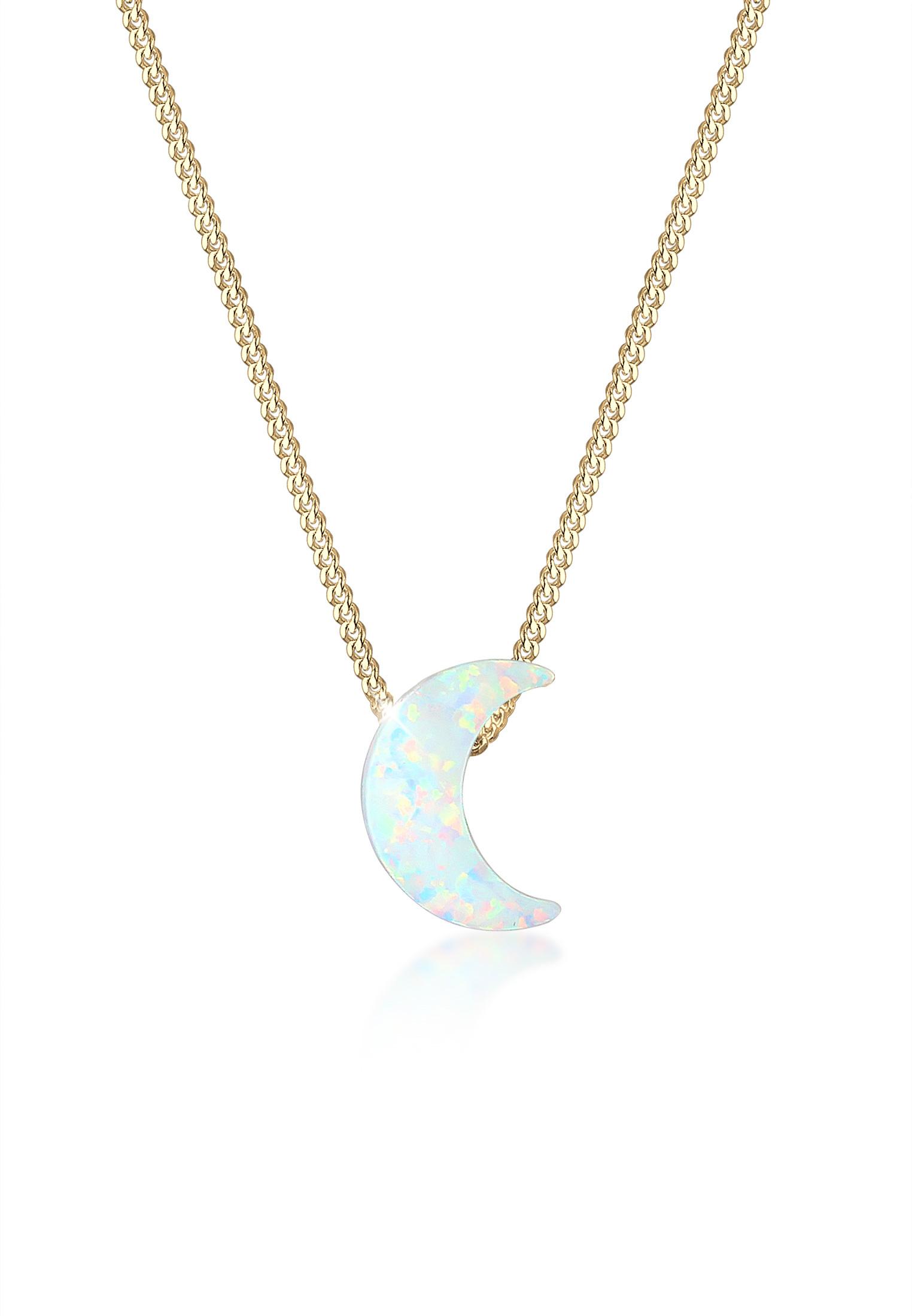 Halskette Halbmond | Opal ( Weiß ) | 925 Sterling Silber vergoldet