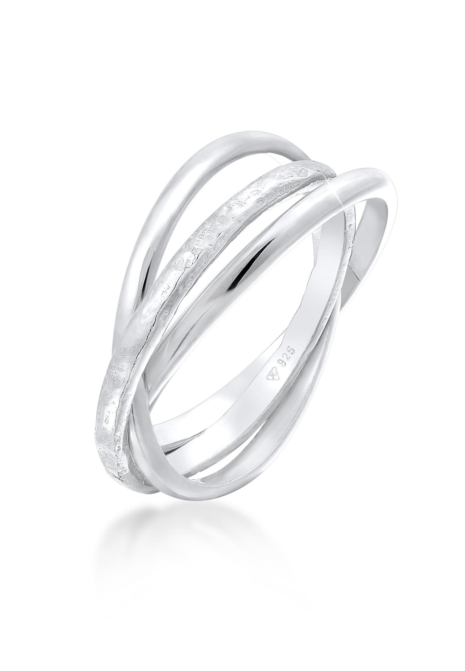 Wickelring strukturiert & glänzend | 925er Sterling Silber