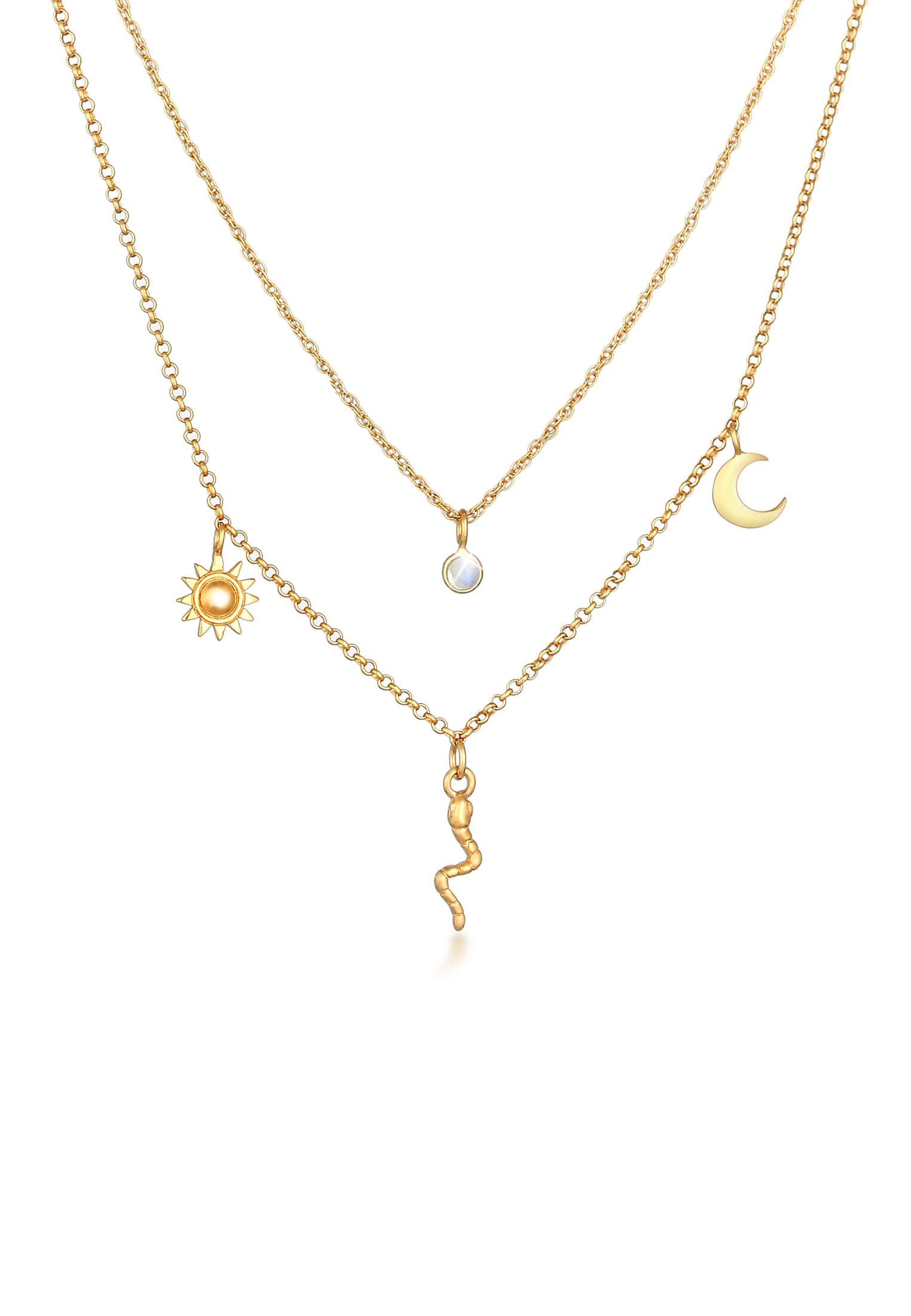 Layer-Halskette Halbmond | Mondstein ( Weiß ) | 925 Sterling Silber vergoldet