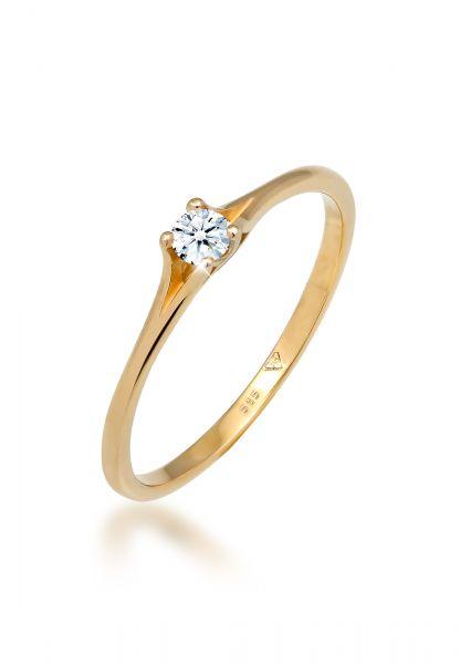 Verlobungsring | Diamant ( Weiß, 0,06 ct ) | 585 Gelbgold