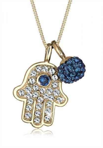 Elli Halskette Hamsa Hand Kristalle 925 Silber Grigri