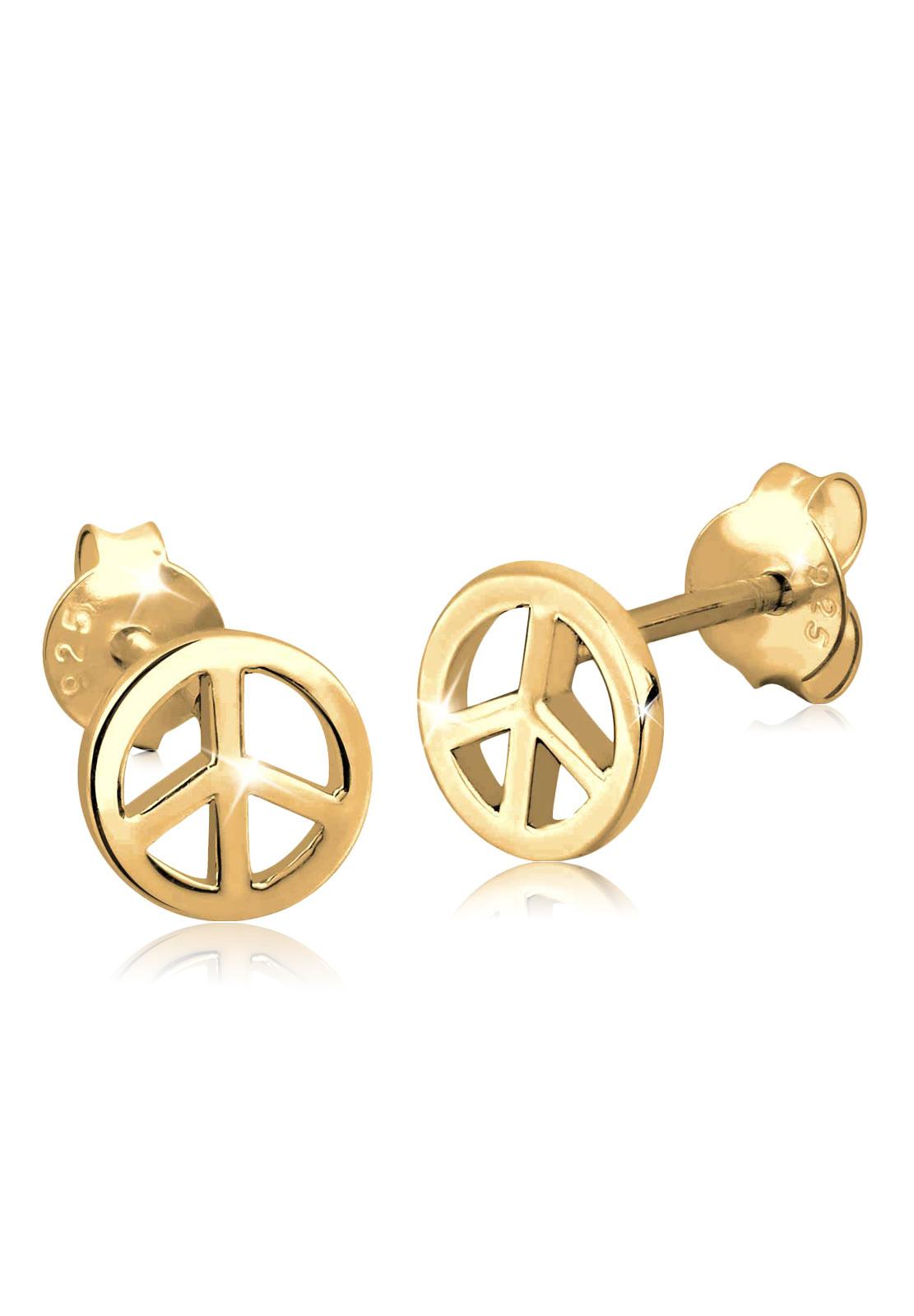 Ohrstecker Peace   925 Sterling Silber vergoldet
