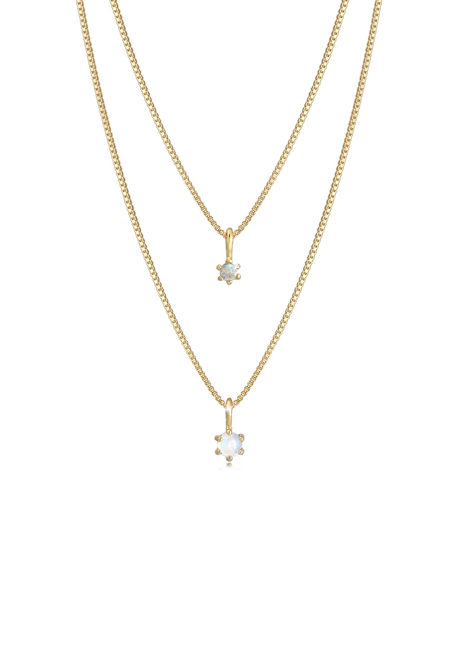 Venezianer-Layer-Halskette | Labradorit ( Grau ) | 925 Sterling Silber vergoldet