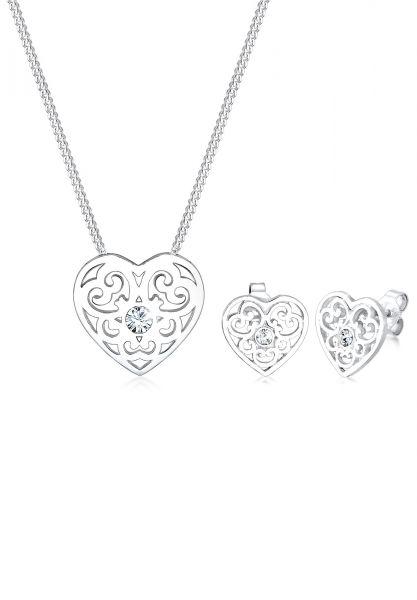 Elli Schmuckset Herz Ornament Kristalle 925 Silber