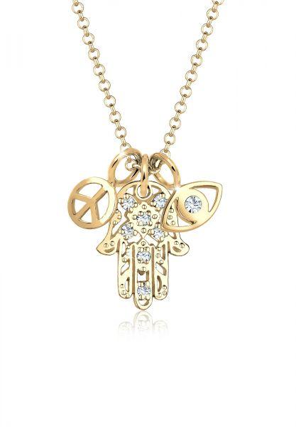 Elli Halskette Hamsa Peace Evil Eye Kristalle 925 Silber