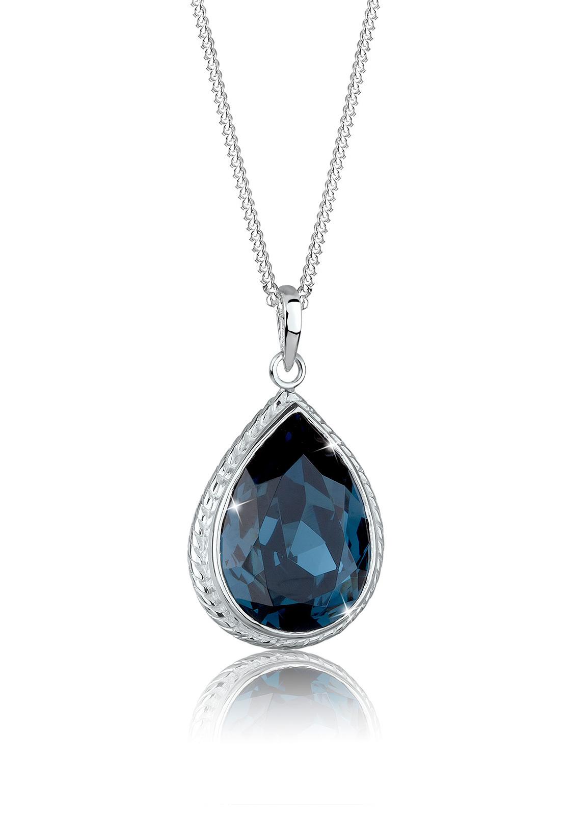 Halskette Tropfen   Kristall ( Blau )   925er Sterling Silber