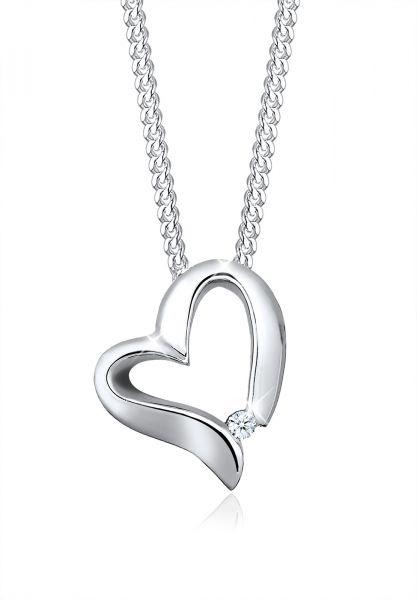 Elli PREMIUM Halskette Herz Romantisch Diamant (0.015 ct.) 925 Silber