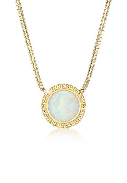 Elli Halskette Vintage Boho Synthetischer Opal Trend 925er Silber